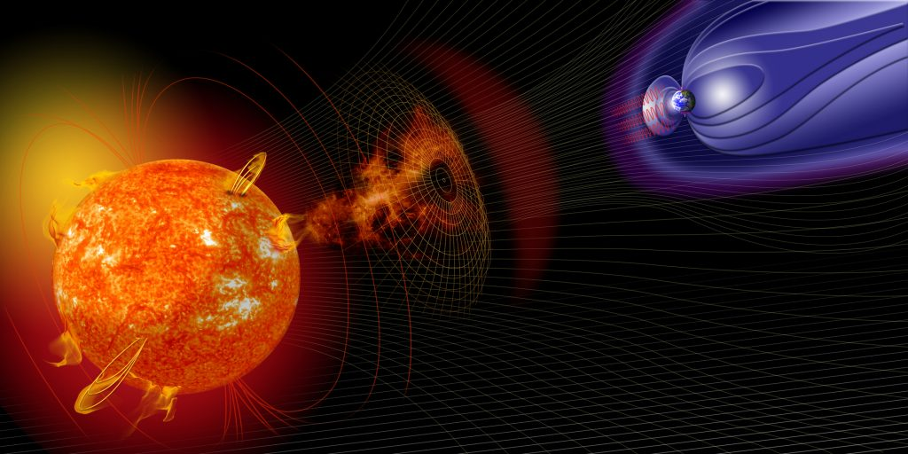 Artist illustration of events on the sun changing the conditions in Near-Earth space. Image Credit:  NASA